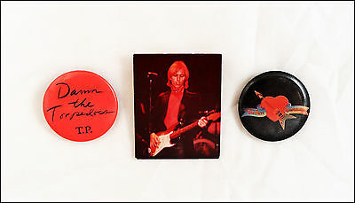 Tom Petty 80's Lot Of 2 Buttons & Photo Pin  / Damn The Torpedos Promo