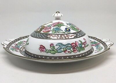 Coalport Indian Tree Antique Covered Dish England Smooth Edge Handles Multicolor