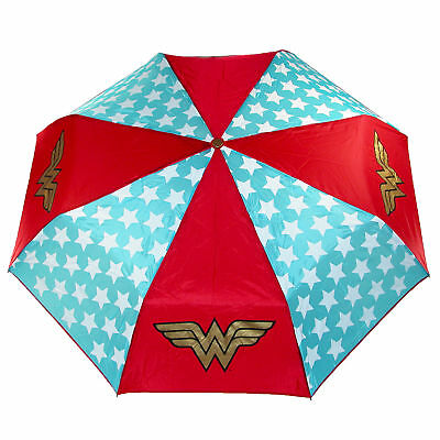 DC Comics Wonder Woman Compact Folding Umbrella Superhero Nylon Stars Gift