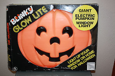 "Vintage Blow Mold Blinky Glow Lite Electric Pumpkin 20 "" x 16"" x  2"""