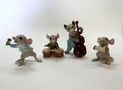 Vintage Hagen Renaker Specialties Miniature Mouse Band Complete Set Adorable!