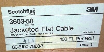 """3m Scotchflex Jacketed,Flat Cable .050"""", 3603/50 (100`NS) CL2 Approved.  100 ft"""
