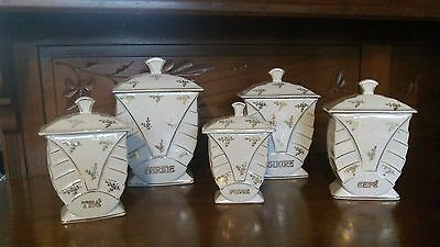 Set of 5 Art Deco 1930's Vintage French Pottery Graduated Containers / Canisters