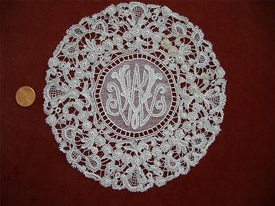 "1 SUPERB HM COMMISSIONED MONO ""WKV"" Antique VTG ROSALINE PERLE NEEDLE LACE DOILY"