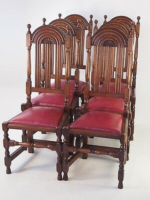 Rare Set 6 Antique Liberty & Co Arts Crafts Oak Dining Chairs - The Lochlevan
