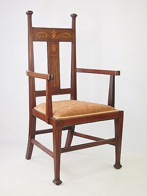 Antique Edwardian Arts & Crafts Chair -Mahogany Inlaid Open Armchair Desk Chair