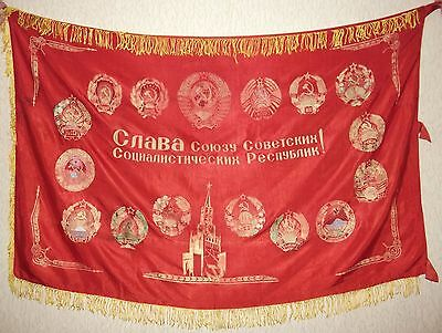 "Soviet RUSSIAN BANNER Transitory Flag ""Glory Union of Soviet Socialist Republics"