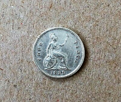 1839 Queen Victoria 1839 Silver Groat - Fourpence Coin in V/F to E/F Condition