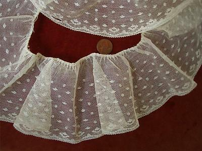 SALVAGED DAINTY RUFFLED Antique VTG EMBROIDERY NET NEEDLE LACE FLOUNCE *DOLLS