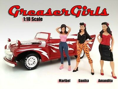 1/18 FIGURINE/Figure-Greezerz Girl Set of 3-foryour shop/garage-AMERICAN DIORAMA