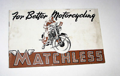 Original Matchless Motorcycles 1948 12-Page Brochure~G3L~G80~Competition Model