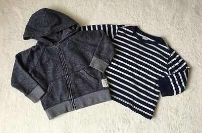 ***Gap boys Navy hoodie and striped top 2 years VGC***