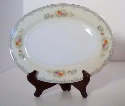 "Oval Serving Platter, 12"" ,imp36, Imperial, Blue Border Design, Floral Sprays"