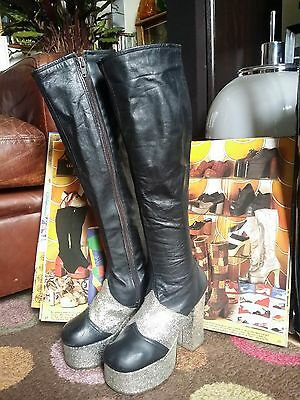 Vintage 1970s Glam Rock Bowie Abba Knee Length Platform Boots.Disco.S 3.5 to 4