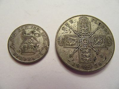 TWO 1926 Great Britain Silver Coins, 1 Florin, 1 6 Pence