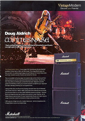 A4 MAGAZINE AD. FOR MARSHALL VINTAGE MODERN AMPLIFIERS. Doug Aldrich Whitesnake
