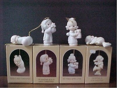 Precious Moments ORNAMENTS  set of 4 Baby/Sock, Snowball, Kittens, Skater w/box