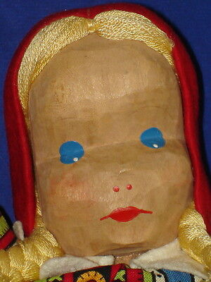 Lotte Sievers Hahn Wood and Cloth Red Riding Hood Puppet Doll Germany 1950s-on