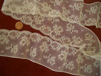 SHEER WIDE SCALLOPED Antique Vtg VALENCIENNES LACE FLOUNCE *DOLLS *LINGERIE