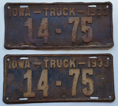 1933 Iowa Truck License plates. Carroll County Number 14-75 matched plates. L953