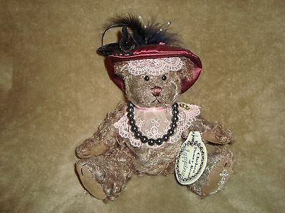 """Year 2000 Brass Button Bear Power Bear Of Happiness Chelsea 8"""" W/Tags"""