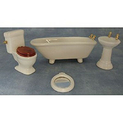 Dolls House Miniature 1:12th Scale White 4 Piece Bathroom Suite