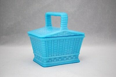 Portieux Vallerysthal Blue Opaline Glass Covered  Basket Shape Dish Jar or Box