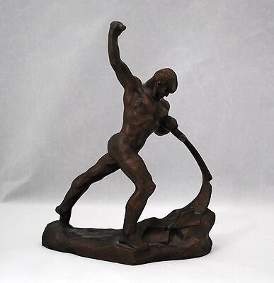 Vuchetich Russian USSR White Metal Figure Let us Beat Our Swords into Plowshares