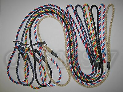 HANDMADE ENGLISH GUN DOG SLIP LEAD  8 mm SPLICED ROPE VARIOUS LENGTHS & COLOURS