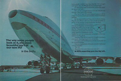 1970 Pan Am: Most Beautiful Part of Our New 747 Is the Belly (27472) Print Ad