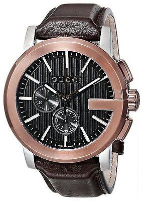 50296727443 New Gucci G-Chrono Chronograph Rose Gold Brown Leather YA101202 Mens Watch