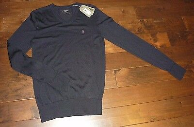 AllSaints men's merino wool V-neck sweater ink navy size MEDIUM NEW WITH TAG