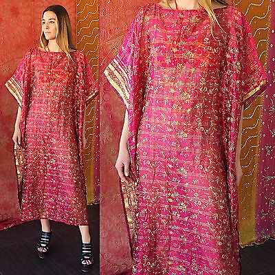 Vintage 70s India Silk Dress Floral Embroidered Metallic Caftan Hippie Festival