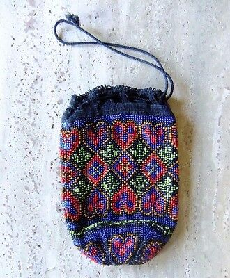 Vintage Victorian Beaded Bag Purse - 1900s