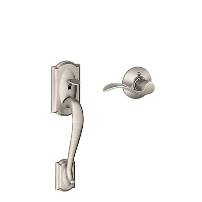 Camelot Front Entry Handle Accent Right-Handed Interior Lever (Satin Nickel) FE2
