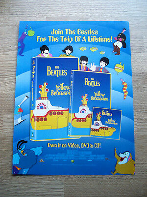 The Beatles Yellow Submarine  - 1999 Vintage Original Magazine Video Dvd Advert