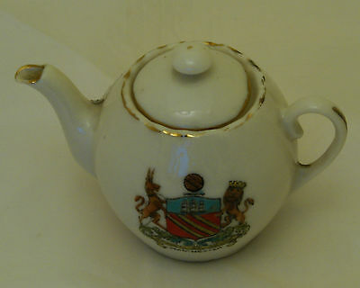 Fairy Ware Crested China Teapot Manchester - 8cm long