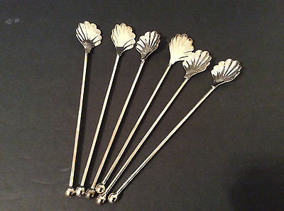 Set of 6 Silvertone Shell Shaped Iced Tea Mint Julep Sipping Spoons/Stirrers, 7""