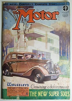 Vintage The Motor Magazine 29 Oct. 1935 Wolseley´s The New Super Sixes