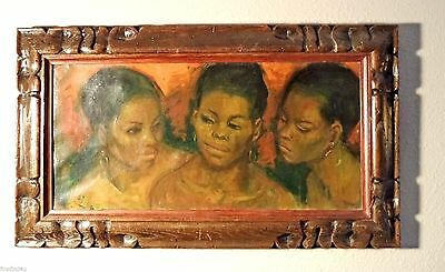 "ORIGINAL OIL PAINTING ""SISTERS"" BY Jan DeRuth  1922 - 1991 23"" x 11"" Plus Frame"