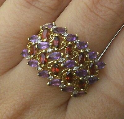 LARGE Garnet Amethyst and Diamond Ring 10kt Yellow Gold Size 9