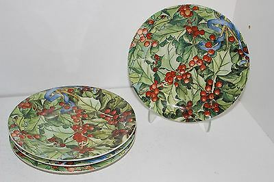 """4 Gien Le Houx 6-5/8"""" Canape/dessert Plates-Holly & Berry-France"""