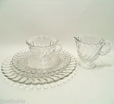 Fostoria Crystal COLONY Clear Glass Swirl 5 Pc Filler Set Plates Cup Creamer