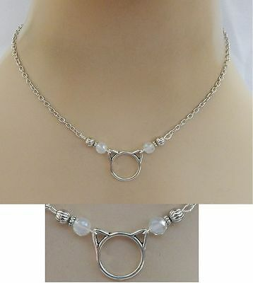 Silver Cat Ears Pendant Necklace Jewelry Handmade NEW Chain Adjustable Fashion