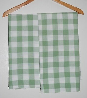 IKEA Gingham Check Pillow Cases Large Plaid Sage Green Shams Pillowcases w/ Flap