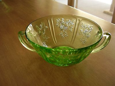 Sharon Cabbage Rose Depression Glass Green Cream Soup Bowl FREE SHIPPING