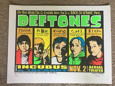 Deftones Poster Incubus & Taproot 2000 Jermaine Rogers Tour Poster S/N Houston