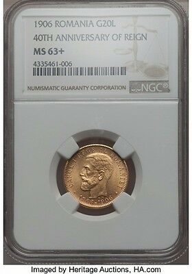 Romania 1906 gold 20 lay NGC MS -63 +