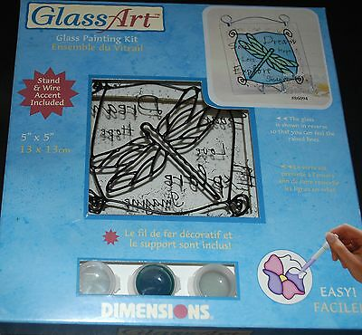 Dimensions Glass Painting Kit  Mini Dragonfly  - 13x 13cms with Stand