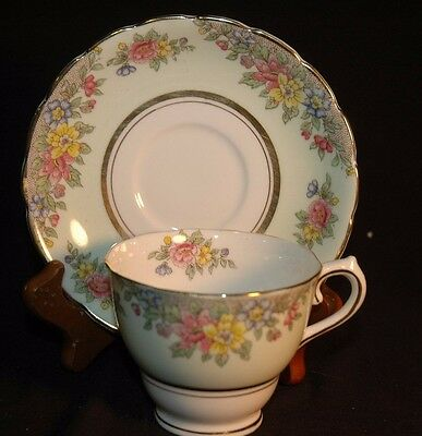 Colclough Green Bordered Floral Cup and Saucer
